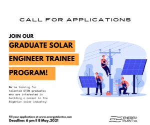 Read more about the article Call for Applications: Energy Talent Graduate Solar Engineer Trainee Program